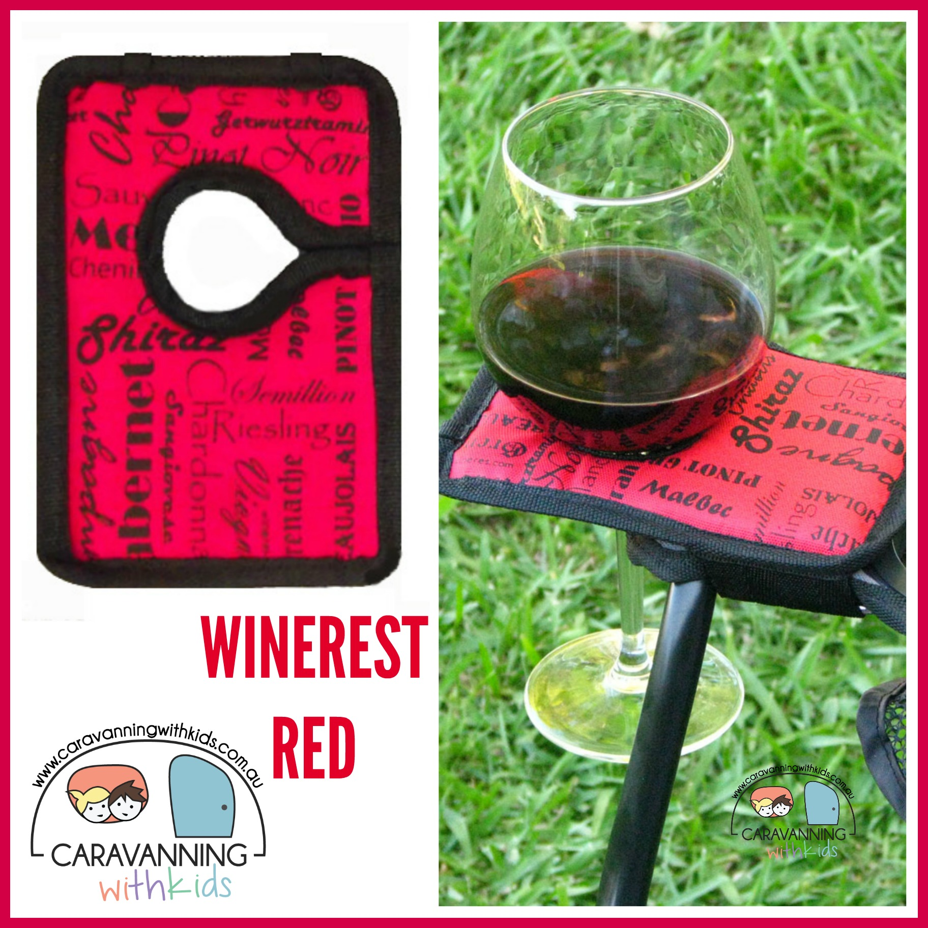 Winerest Camping Chair wine glass holder RED Travelling with Kids